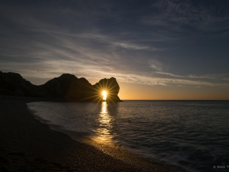 Durdle Door,England - rocks, nature, sunset, reflection, sea