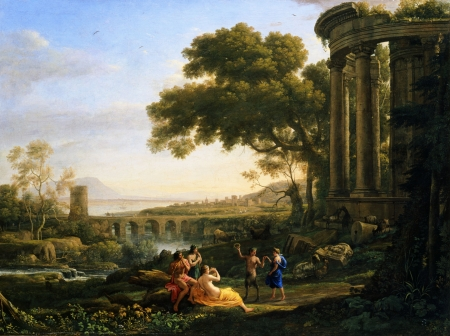 Landscape with Nymph and Satyr Dancing - art, landscape, lorrain, painting