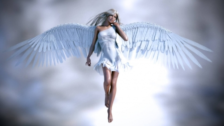 Blue Angel - fantasy, Angel, Blue, girl