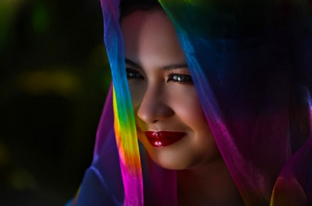 Exotic Girl - pretty, female, veil, veiled, beautiful, woman, rainbow colors, mood, photography, girl, people, scarf, face