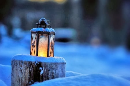 Winter Glow ♥ - candle, photography, lantern, snow, beautiful