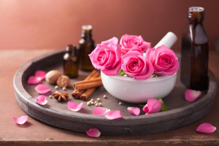 AROMATHERAPY - PETALS, ROSES, AROMATHERAPY, BUDS, RELAXING, OILS