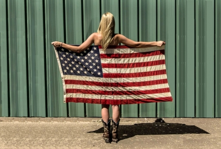 Surprise For Veterans Only!.. - memorial day, boots, women, girls, July 4th, blondes, barns, female, spurs, models, veterans day, fun, America, flag, cowgirls, fashion, western, style