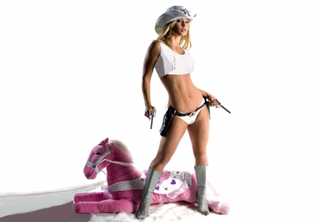 Don't Make Fun Of My Horse! - female, models, hats, boots, holsters, fun, women, guns, pistols, cowgirls, stuffed pony, girls, fashion, blondes, western, style