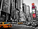 Black and White City Street with Color Splash