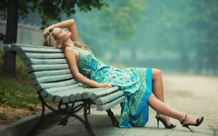 beautiful girl resting - resting, beautiful, girl, blue