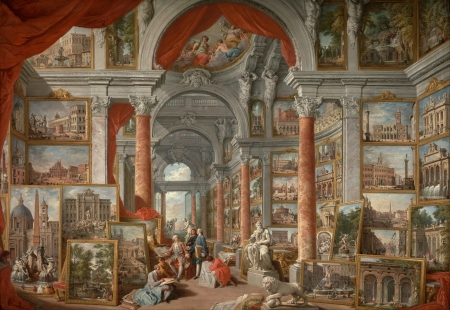 Gallery with Views of Modern Rome - art, Pannini, rome, painting