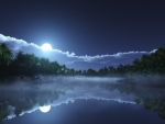 beautiful night sky reflecting in the clear lake