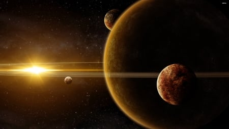 golden sunlight over the planets - planet, star, sun, space