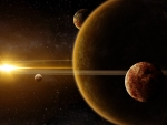 golden sunlight over the planets