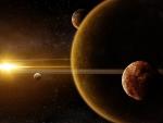 golden sunlight over the planets