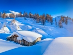 Snowy mountain hut