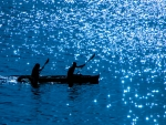 Silhouettes on glittering waters