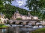 gorgeous bridge at brantome dordogne castle france hdr