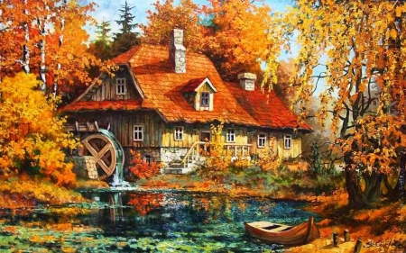 old watermill - forest, river, watermill, house