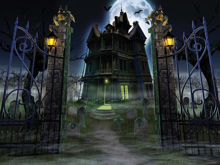 Iron Gates To Hell - lanterns, iron gates, halloween, mansion, fog, full moon, hauted house, mist