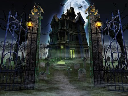 Iron Gates To Hell - mist, iron gates, lanterns, fog, mansion, hauted house, full moon, halloween
