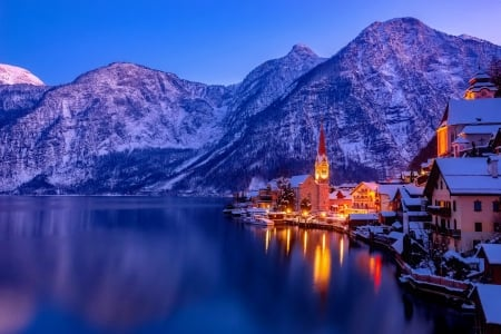 Austria in winter - shore, dusk, beautiful, twilight, lights, mountain, calm, cliffs, village, evening, reflection, town, winter, lake, serenity, snow, austria