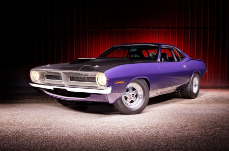 1970-Plymouth-Barracuda - Classic, Purple, Muscle, Mopar