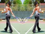 Denise Milani playing tennis Wimbledon?