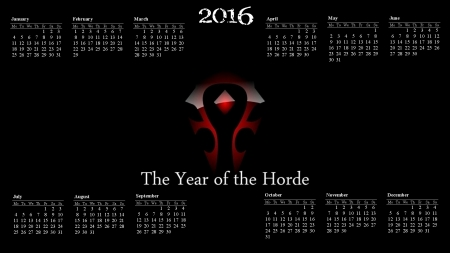 The Year of the Horde - horde emblem, 2016, warcraft, wow art, faction, wow fanart, alliance, horde, wow