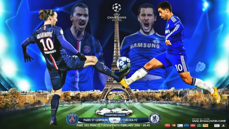 PSG - CHELSEA  CHAMPIONS LEAGUE 2016 - zlatan ibrahimovic, eden hazard, ibrahimovic, paris saint germain wallpaper, paris, zlatan ibrahimovic wallpaper, paris saint germain, PSG, CHELSEA, CHAMPIONS LEAGUE wallpaper, PSG wallpaper, hazard wallpaper, CHELSEA wallpaper, CHAMPIONS LEAGUE