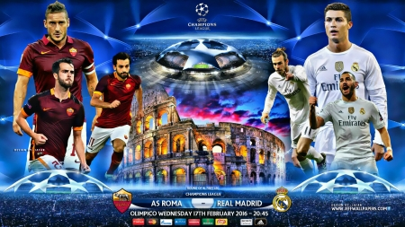 AS ROMA - REAL MADRID CHAMPIONS LEAGUE 2016 - karim benzema, cr7, REAL MADRID, as roma wallpaper, totti, cristiano ronaldo wallpaper, cristiano ronaldo, gareth bale, CHAMPIONS LEAGUE wallpaper, as roma, er, REAL MADRID wallpaper, CHAMPIONS LEAGUE
