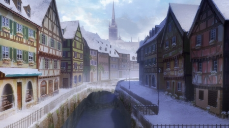 Anime River Winter Town