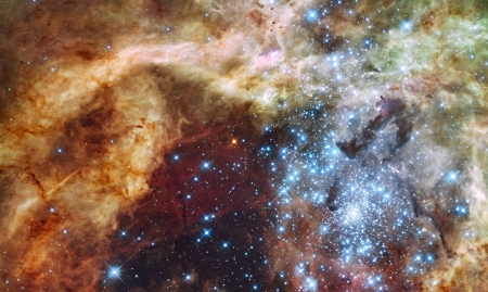 Star Cluster R136 Bursts Out - stars, fun, cool, galaxies, space