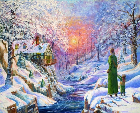 Winter Wonderland - sunset, creek, trees, woman, artwork, watermill, snow, painting, child