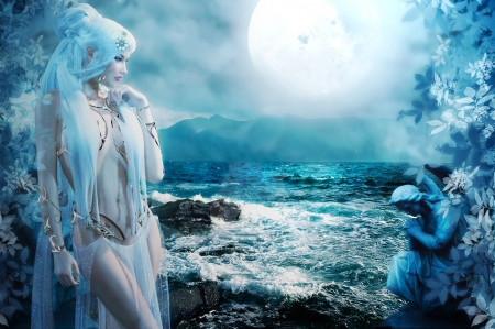 Sea Siren in Moonlight - ocean, beautiful, digital art, Fantasy, softness, sea, moon, statue, Moon, siren, dream, blue
