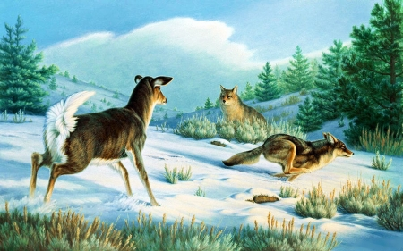 Stand Off - whitetail, predators, snow, painting, wolves, artwork, winter