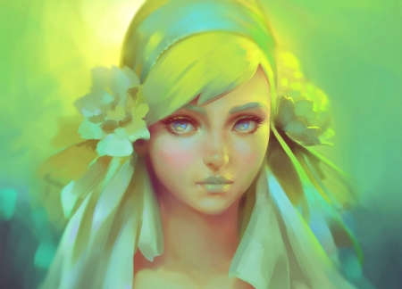 Girl - wip, art, luminos, yellow, woman, viccolatte, fantasy, girl, green, flower, portrait