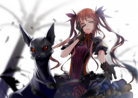Dark Companion - pigtails, animal, tree, leaves, gloves, gothic, anime, dark, anime girl, red eyes, creature