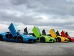 colourful lamborghini aventadors