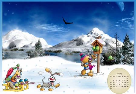 Happy winters day - letter book, calander, Blue syke, cartoon, moutians
