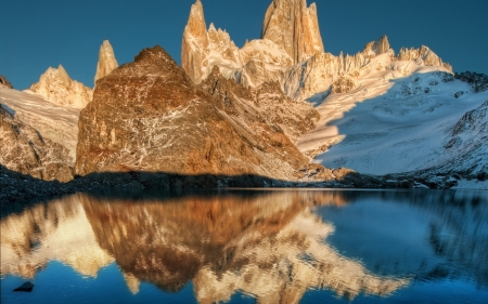 Brown Mountains Reflecting in the Lake - brown, reflecting, mountains, nature, lake