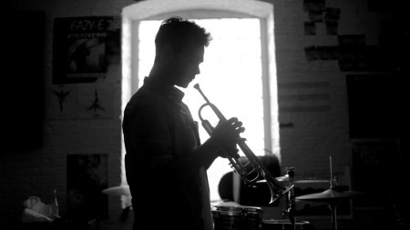 Trumpet Player - music, trumpet, man, photography, instrument, dark, evening, light, night
