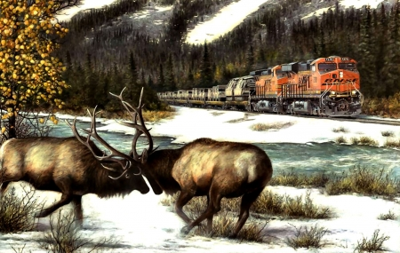 Balance of Power  - railroad, art, locomotive, beautiful, illustration, artwork, animal, winter, train, snow, engine, elk, painting, wide screen, wildlife, tracks