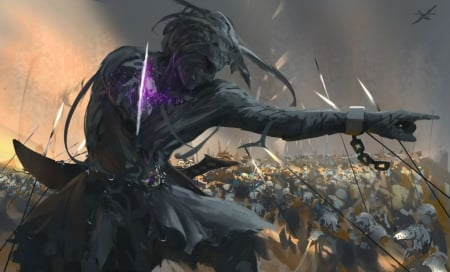 Ghost Blade - art, male, black, man, abstract, weapons, fantasy, battle, purple, grey