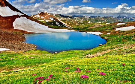 SPRING from the MOUNTAIN - grass, enchanting nature, iceberg, spring, sky, clouds, lake, splendor, mountains, reflectoin, flowers, nature, meadow