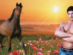 Man with Horse At Sunrise