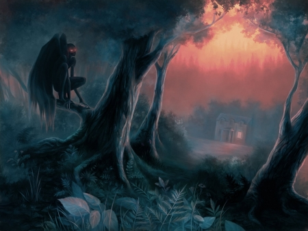 Waiting For You - glowing eyes, wings, house, trees, fantasy, dark, plants, red eyes, creature