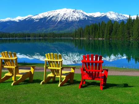Lake in Jasper NP, Canada - water, spring, reflection, trees, armchairs, landscape