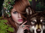 Woman with Wolf