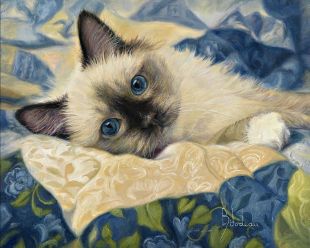Charming - art, cat, animal, painting, kitten, pictura, pisica, lucie bilodeau, blue