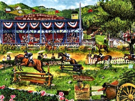 Country Horse Show F - art, equine, beautiful, horse, artwork, event, animal, competition, show, painting, wide screen