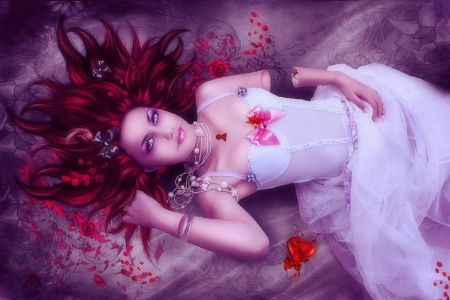 Broken Valentine - models, redhead, love four seasons, creative pre-made, digital art, photomanipulations, Valentines, fantasy, beautiful girls, dark, weird things people wear, girls, beloved valentines, white