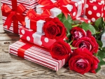 Beautiful roses with gift