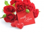 card with red roses